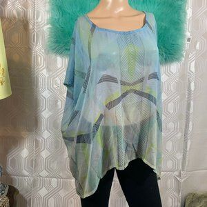 GYPSY Blouse TUNIC blue Size S 100% SILK CASUAL V3